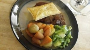 Photo of goulash pie plated