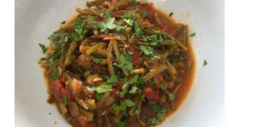 Slow cooked runner beans & tomatoes
